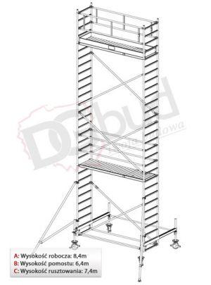 Rusztowanie przejezdne aluminiowe - STABILO 100   wys. rob. 8,4m