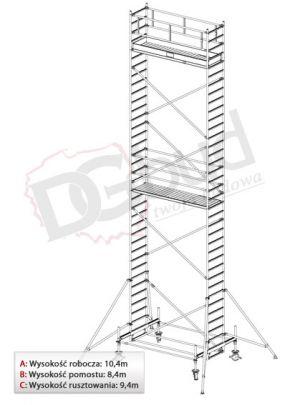 Rusztowanie przejezdne aluminiowe - STABILO 100 | wys. rob. 10,4m