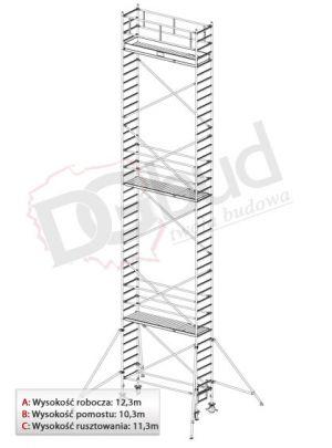 Rusztowanie przejezdne aluminiowe - STABILO 1000 | wys. rob. 12,3m
